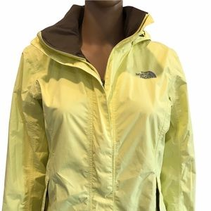 The North Face yellow nylon fall jacket with hood size small